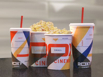 Roxy Cinemas Packaging print packaging branding snacks concessions theater coke popcorn movie