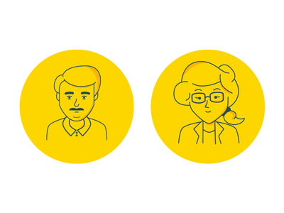 User Personas persona research ux limited color monoline character people drawing illustration