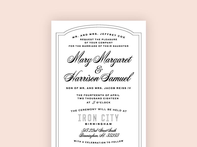 Got Married, Made An Invite letterpress wedding alabama script typography marriage invitation