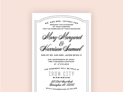Got Married, Made An Invite letterpress wedding alabama script typography marriage invitation
