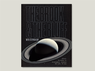 Spacey Gig Poster music black and white saturn nasa illustration band condensed typography poster space