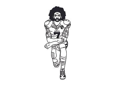 KAEPERNICK KNEEL protest sanfrancisco jersey illustration tatoo nfl 49ers athlete football america usa