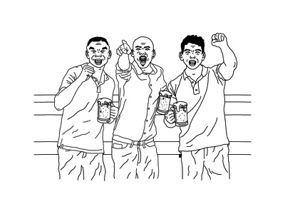 BEERS WITH MIKE, MIKE, & MIKE illustration olympics usa boxing michael phelps jordan mj michael jordan mike tyson athletes basketball beer