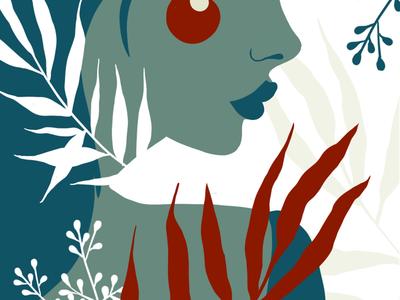 Plant lady character plants procreate illustration
