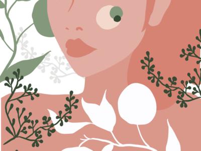 Plant lady 2 plants illustration