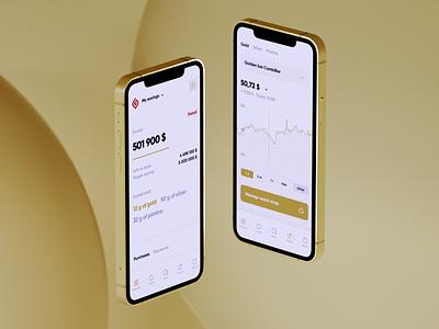 Goldengate - Invest in with valuable metals investing app investing gold app silver gold trading app trading octane renderer octane c4d cinema 4d 3d branding ios app design ux clean ui