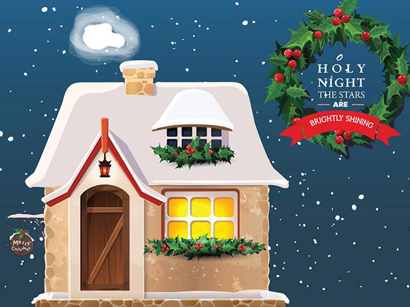 O Holy night... snow house card vector illustration christmas