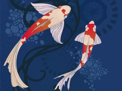Fish design art bright digital illustration pattern decorated artwork fish vector