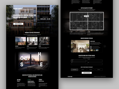 Fitzroy House - Lead Capture Page black  white black luxury australia melbourne daily design google property real estate website desktop ui ux cro landing page lp