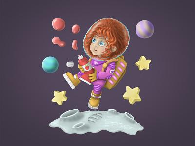 Little space traveler austronaut cg art digital painting digital illustration digital art 2d illustration characters cartoon character characters design character design art