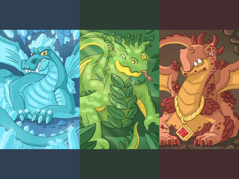 RGB Dragons concept art dragons cg art digital art illustrations characters cartoon character characters design character design illustration 2d art