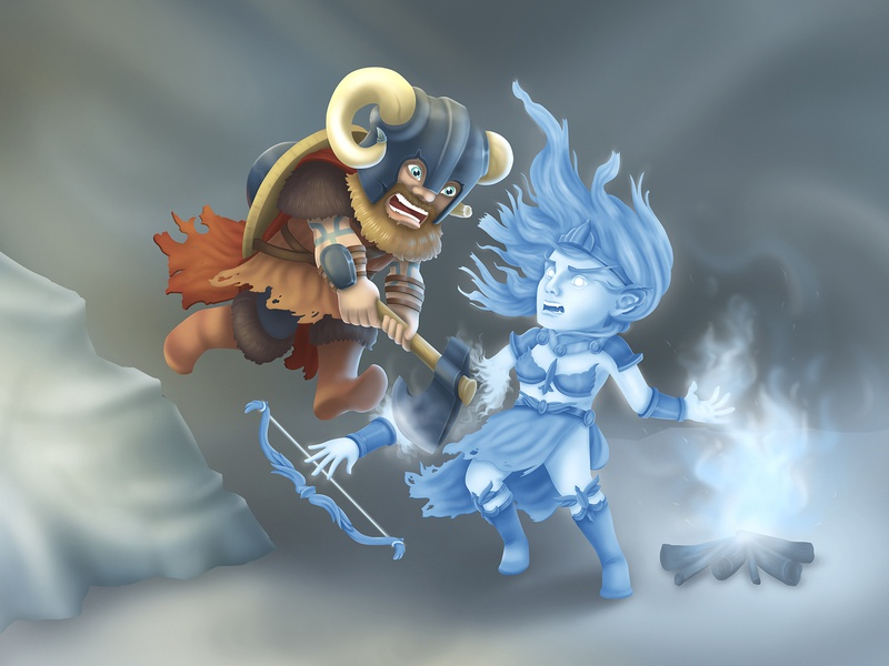 Viking and the Witch illustrations witch viking game art cgi cg art digital art characters characters design illustration 2d art