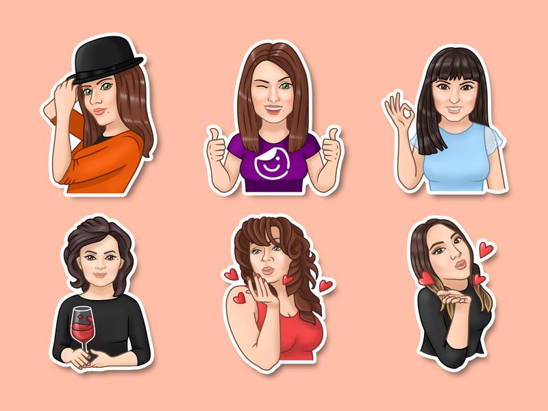Stickers 2d portrait portrait art stickers sticker design cartoon illustration cartoon character sticker characters illustration vector art