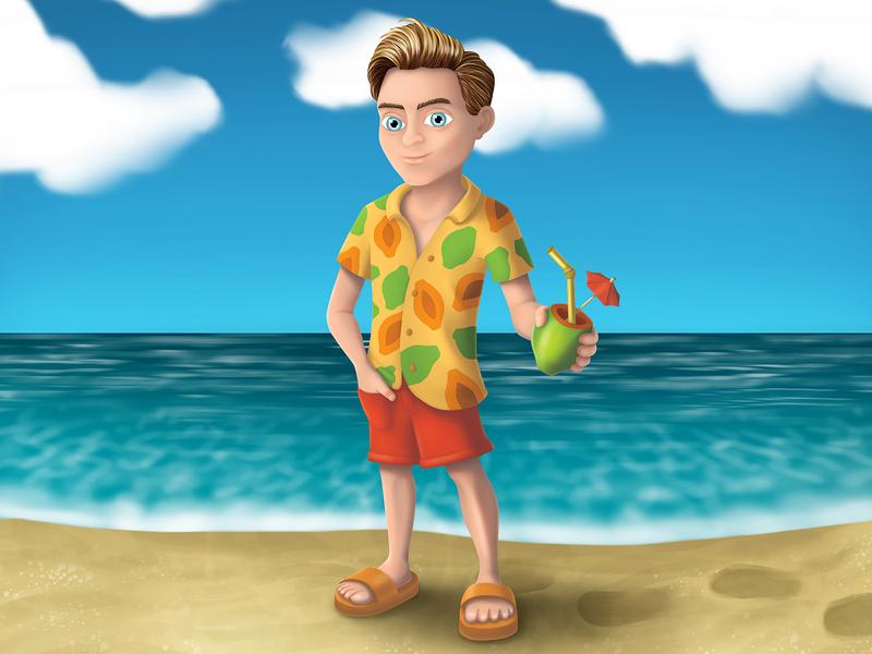 MIKE PAPAYA beach sea digital illustration digital painting illustrations digital art characters characters design cartoon character character design illustration art