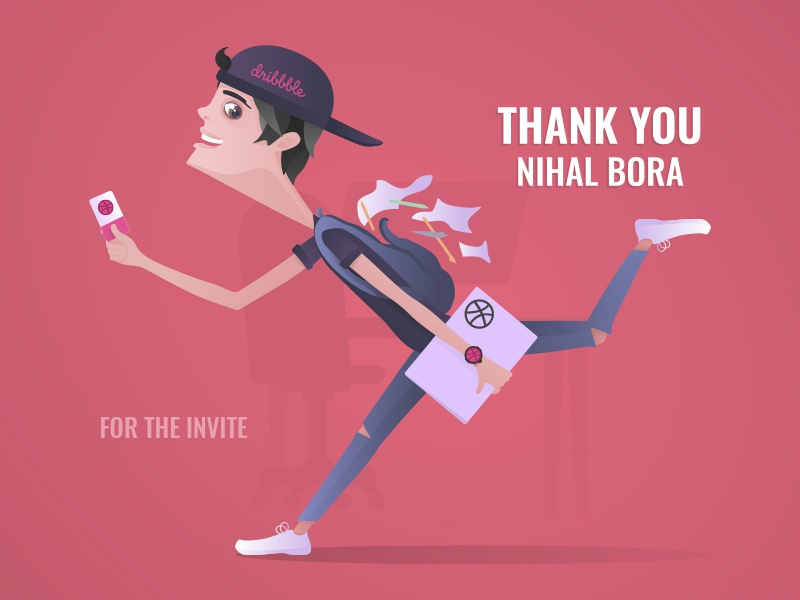 Hurrying Dribbble Man designer characters design hurrying man art first shot invite iluustration vector