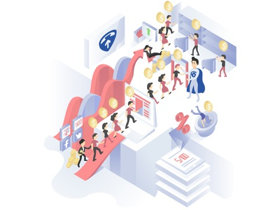 """CallUpper Illustration """"After"""" infographic graph illustration in perspective business model illustration vector people ui illustration vector art"""