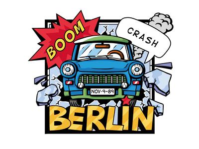 Trabant Berlin berlin cartoon car comic style comic art comic vector illustration vector art illustration 2d vector art