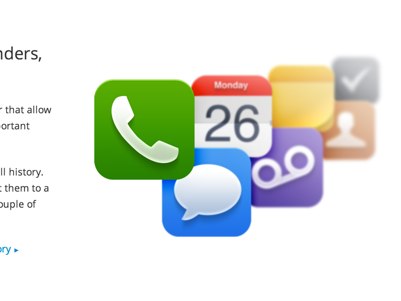 Access your iOS Device phone chat calendar voicemail notes contacts reminders ios icons rounded miui
