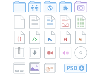 Dropbox iOS Icons dropbox ios icons remake file types folder file disc psd free download