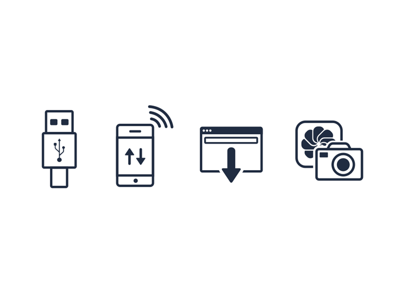 Icons usb iphone phone transfer wifi browser download photo camera app image glyph