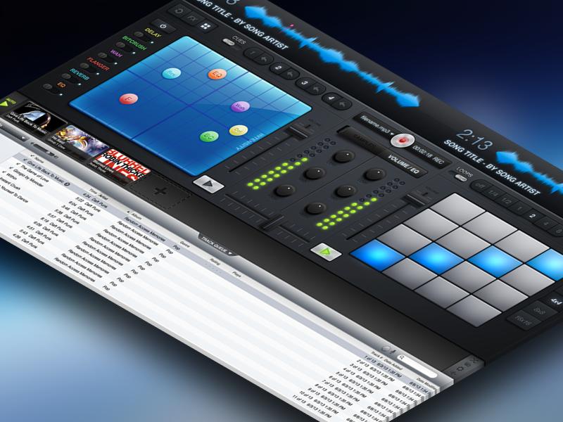 itDJ UI dj music mac app user interface glow os x knobs led