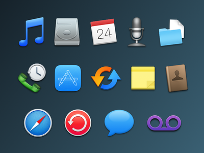 Feature Icons for iExplorer music calendar harddrive recent calls notes addressbook safari chatbubble messages voicemail microphone