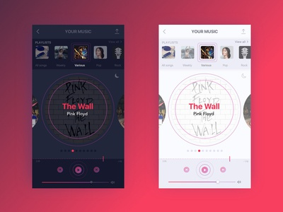#DailyUI #009  Music Player - Day and night mode