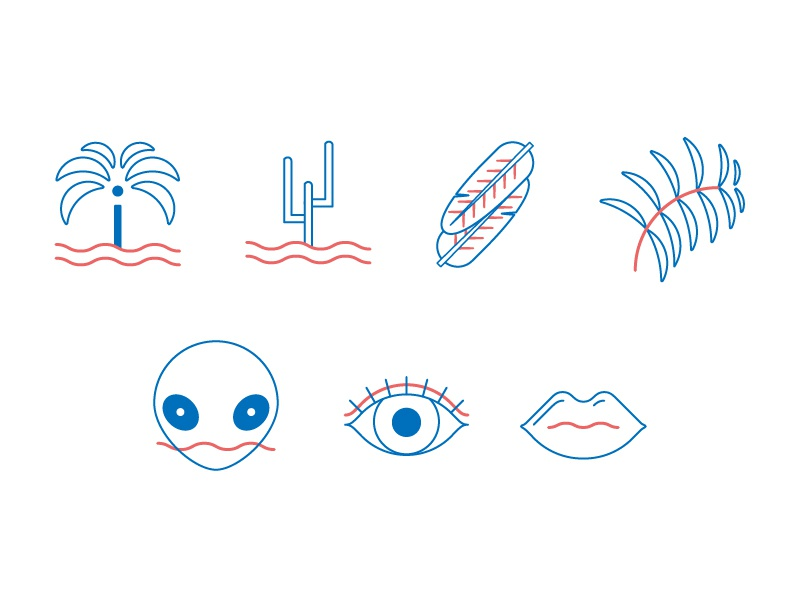 some icons for L.A and beauty products elements pictogramme alien illustration graphic design icon wave palm tree lip beauty