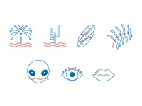 some icons for L.A and beauty products elements