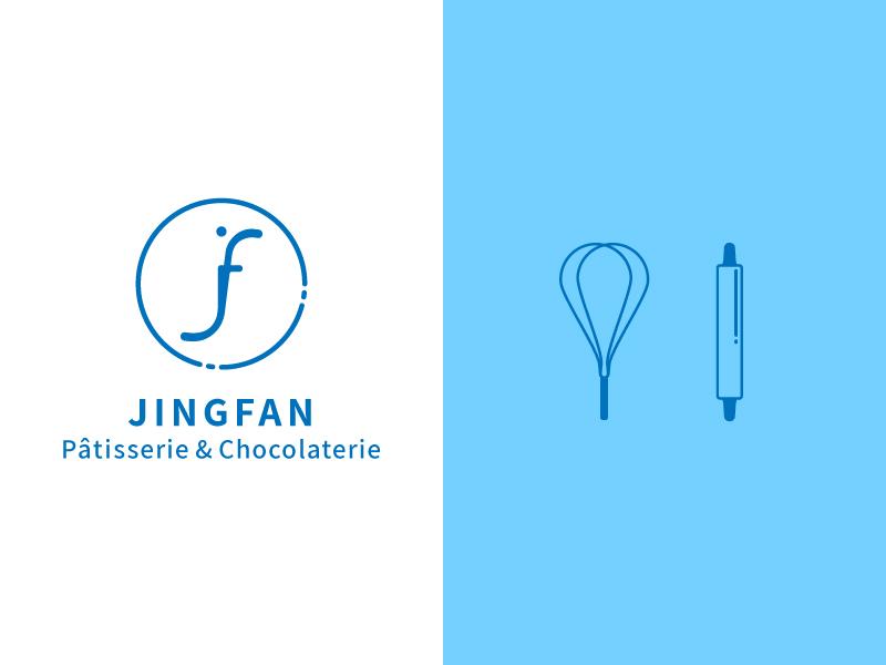 Jingfan pâtisserie & chocolaterie logo & icons chocolaterie food patisserie illustration icon logo
