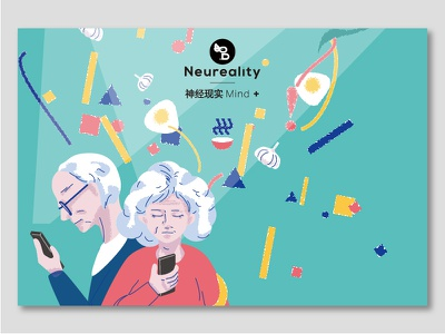 Neureality | mind+ activity poster card illustration science psychology conference oldman activity graphicdesign postercard illustration