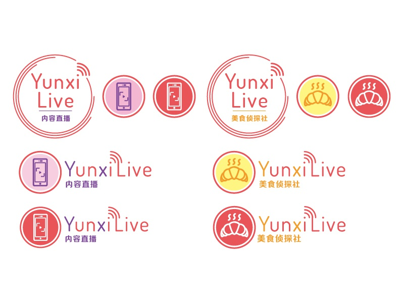 Logo and icons | YunxiLive-美食侦探社/内容直播 live phone camera croissant icon logo