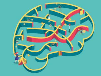 Illustration Brain-maze neuroscience neuro science maze brain illustration