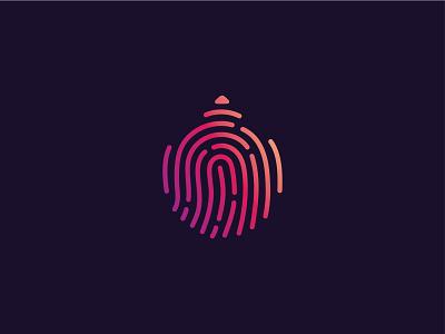 Personalised Printers Logo Design Concept gradient printer logo unique logo fingerprint identity branding icon brand design vector logo