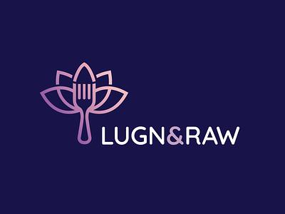 Lugn & Raw Logo Concept spiritual raw food food logo lotus raw brand branding identity vector logo design