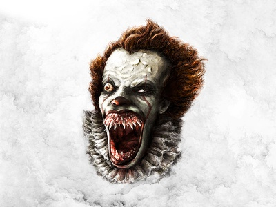 Pennywise Illustration 2 photoshop colour brush character cool concept movie horror digital art illustration drawing