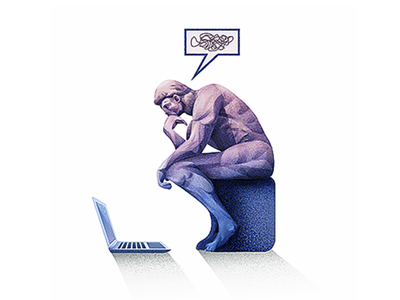 Flat Illustration #2 thinking sitting vector computer drawing character illustration