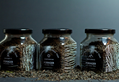 Forager Naturally Procured Teas tea packaging branding design minimal organic