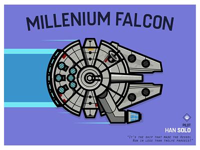 Millenium Falcon skywalker starwars bungie spaceship illustration