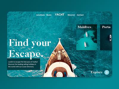 Yacht platform landing page minimal lettering branding website web ux ui typography design