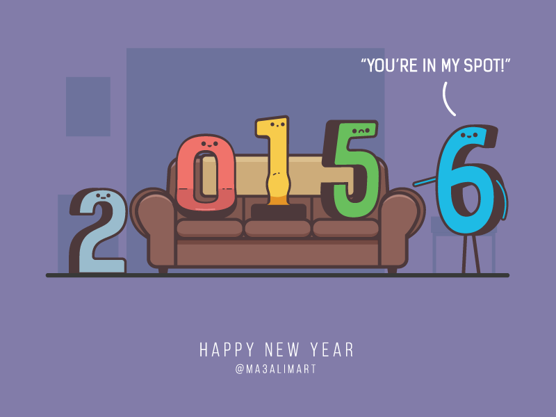 Hello and Happy New Year humor vector illustration tbbt debut first shot new year