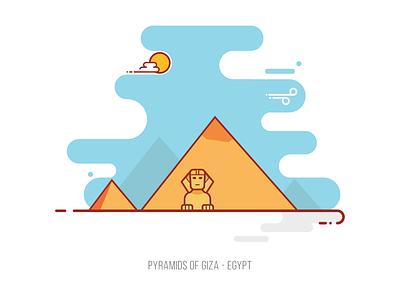 Pyramids of Giza Egypt sphinx flat landscape landmark egypt pyramids of giza pyramids illustration