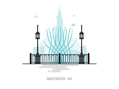 The Dubai Fountain burj khalifa landmark fountain emirates uae dubai the dubai fountain minimal vector flat illustration