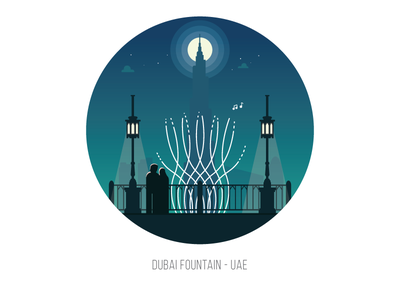 Dubai Fountain at Night burj khalifa landmark fountain emirates uae dubai the dubai fountain moon night vector flat illustration