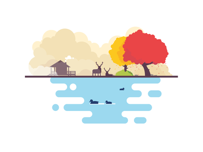 The great outdoors animals lake outdoors tree nature minimal vector flat illustration