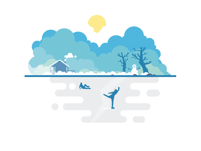 The great outdoors at winter frozen skating snowman snow winter illustration flat vector nature tree outdoors lake