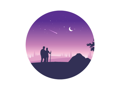 Explore The World 3 - valentines edition! valentines day night meteor love valentine landscape mountain minimal vector illustration