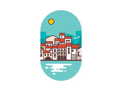 Sicily - Italy sea island city minimal flat landmark coastline italy sicily illustration