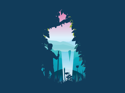 Explore The World 4 mountains forest trees waterfall explore adventure vector flat illustration