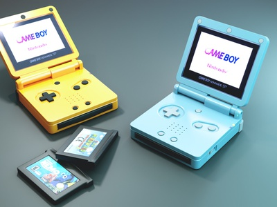 GAMEBOY ADVANCE cycles render 3dblender low poly gameboy